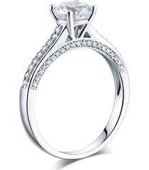 lab created diamond cathedral promise / engagement ring 925 sterling silver