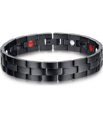 pulsera magnetica acero inoxidable 316l sbrm012 - negro