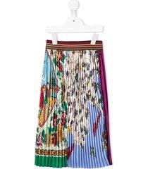 go to hollywood floral pleated mid-length skirt - black