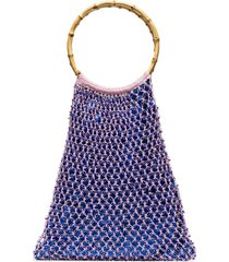 my beachy side aphrodite beaded crochet tote bag - pink