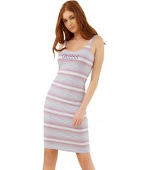 vestido logo stripe dress multicolor guess