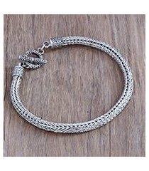 men's sterling silver chain bracelet, 'masculine naga' (indonesia)