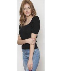blusa fashion manga corta negra 609 seisceronueve