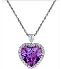 arabella purple and clear swarovski zirconia heart necklace in sterling silver