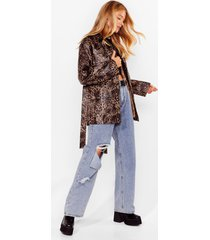 womens meow's things leopard belted jacket - brown