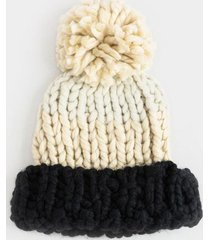 crystal color block pom beanie - ivory