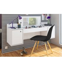 penteadeira albatroz camarim atração com espelho branco e cadeira charles preta