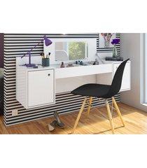 penteadeira albatroz camarim atraã§ã£o com espelho branco e cadeira charles preta - branco - dafiti