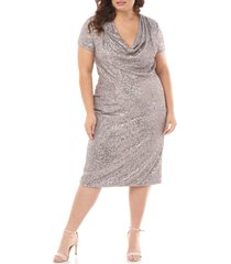 plus size women's js collections cowl neck sequin cocktail dress