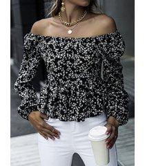 camicetta in chiffon a maniche lunghe con stampa floreale per donna