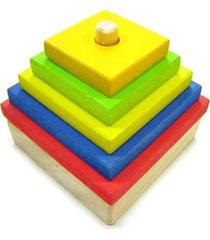 formas geomã©tricas kits e gifts torre quadrada - madeira - amarelo - amarelo - dafiti