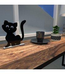 escultura de mesa adorno gatinho simpático companheiro preto único
