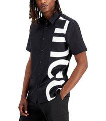 hugo hugo boss men's ebor relaxed-fit logo-print shirt, created for macy's
