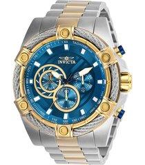 reloj invicta acero dorado modelo 255aa para hombres, colección bolt
