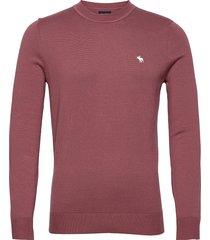 anf mens sweaters stickad tröja m. rund krage rosa abercrombie & fitch