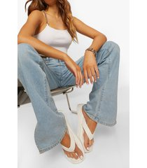 gestreepte gewatteerde slippers met stiksels en teenstop, white