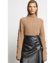 proenza schouler velvet merino buttoned turtleneck sweater /brown l