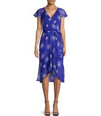 print flutter-sleeve wrap dress