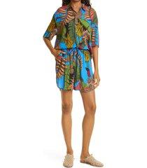 women's farm rio totally tuiuiu drawstring shorts, size large - blue