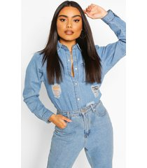 distressed denim shirt, mid blue