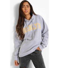 oversized brooklyn hoodie, grey marl