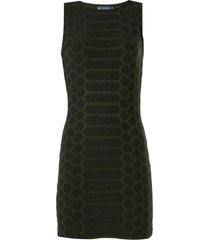 vestido john john snake curto tricot verde militar feminino (verde militar, gg)