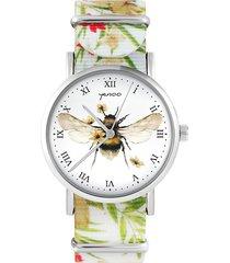 zegarek - bee natural - kwiaty, nylonowy, biały