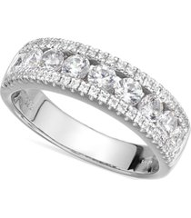 arabella sterling silver swarovski zirconia three-row ring (2-1/10 ct. t.w.)