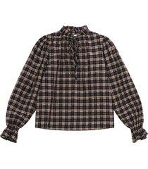 blouse met seersucker-ruit