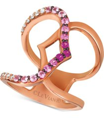 le vian strawberry layer cake multi-gemstone statement ring (3/4 ct. t.w.) in 14k rose gold