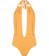 framed malibu bodysuit - yellow