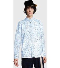 camisa desigual slim uriel celeste - calce slim fit