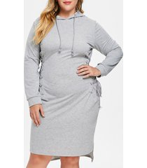plus size criss cross hoodie dress