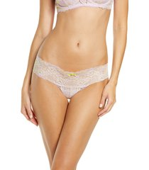 women's skarlett blue 'obsessed' lace thong, size large - purple