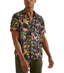 guess men's eco flower market slim-fit floral-print shirt