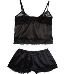 pijama para mujer - short y blusa - negro - lussuria - gravedad - ref: 001