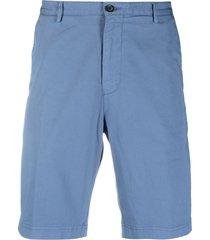boss hugo boss straight-leg bermuda shorts - blue