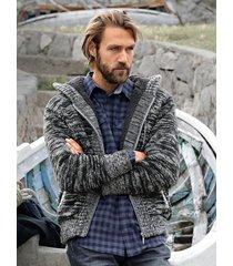 cardigan men plus svart::grå
