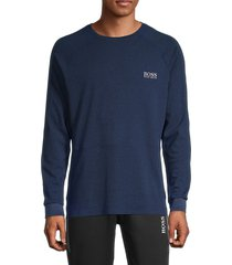 boss hugo boss men's premium stretch-cotton & silk sweatshirt - blue - size m