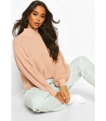 oversized balloon sleeve crop sweater, blush
