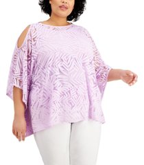 jm collection plus size cold-shoulder overlay top, created for macy's