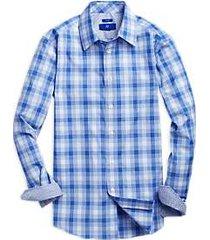 egara blue plaid sport shirt