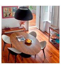 mesa jantar oval saarinen madeira 235x122x75