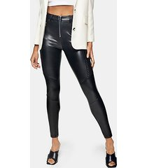 black biker faux leather trousers - black