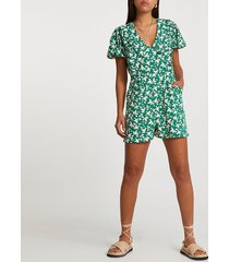 river island womens green short sleeve floral collared playsuit