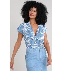 body feminino blusê estampado de poá manga curta azul