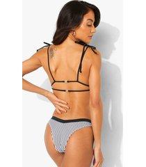 mono driehoekige gestreepte bikini top met dubbele strikjes, mono