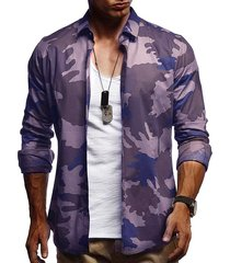 camouflage print casual long sleeve shirt