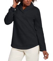 karen scott sport shawl-collar fleece pullover, created for macy's