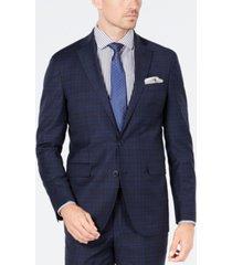 cole haan men's grand os slim-fit wearable technology plaid suit jacket